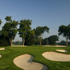 A view of green #13 protected by bunkers at South Course from Oakland Hills Country Club