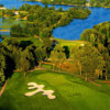Aerial view of the 14th green at Island Hills Golf Club