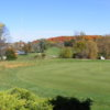 A fall view of a green at Falcon Head Golf Course