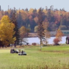 A fall view of a green at Les Cheneaux Club & Golf Link