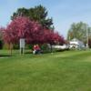 A spring view of a tee at Northwood Golf Course