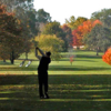 A fall view from a tee at Kalamazoo Country Club