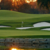 A view over the water of a hole at Oakland Hills Country Club