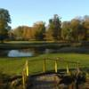 A fall day view of a tee at Broadway Acres Golf Course.