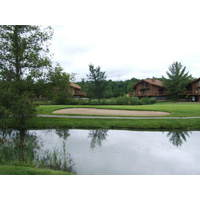 The golf course plays through the Schuss Mountain village at Shanty Creek resort.