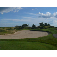 The par 3 second hole at Eagle Eye is almost all bunker carry.