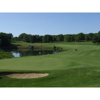 The 18th hole at Pilgrim's Run Golf Club in Pierson, Michigan.