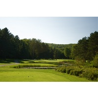 Boyne Highlands Resort's Heather course's 12th hole is a par 3 that plays 174 yards over water.