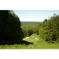 The third hole on the Threetops golf course at Treetops Resort is steeply downhill and plays 219 yards.