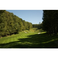 The fifth hole on the Threetops golf course at Treetops Resort plays uphill and is 150 yards from the championship tees.