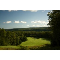 The most spectacular tee shot at Boyne is the par-5 13th hole of the Hills course at Boyne Highlands.