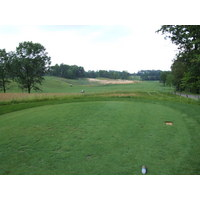 A view of the double fairway on the fifth tee box at The Mines Golf Course in Grand Rapids, Michigan.