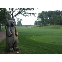 There are many woodland creatures like this one scattered throughout The Mines Golf Course in Grand Rapids, Michigan.