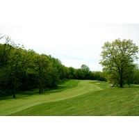 Leslie Park Golf Course's par-4 ninth hole is a narrow driving hole that doglegs left around woods.