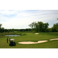 The Orchards Golf Club's 16th hole is a short par 4 around a pond that is potentially drivable off the tee.