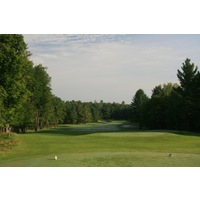 The first hole at Black Lake Golf Club is a gentle dogleg-right par 4.