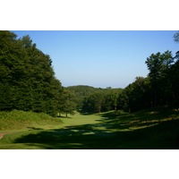 The opening hole on the Legend golf course at Shanty Creek Resorts is a short, downhill par 5.