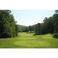 The 10th hole on the Legend golf course at Shanty Creek Resorts is a downhill par 4.