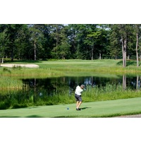 The ninth hole on the Swampfire golf course at Garland Resort and Lodge is a 199-yard shot over water.