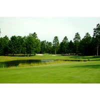 The 10th hole on the Swampfire golf course at Garland Resort and Lodge is a long, dogleg left par 5.