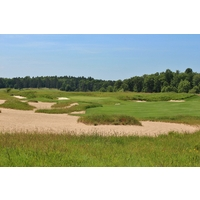 The 17th hole is a great, drivable par 4 at the Forest Dunes Golf Club in Roscommon, Michigan.
