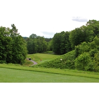 The ninth hole might be the most memorable par 3 at the Hidden River Golf & Casting Club in Brutus, Michigan.