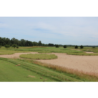 Sand sets the stage for the third hole, the best par 3 at Macatawa Legends Golf & C.C. in Holland, Mich.