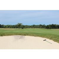 A bunker sits in the middle of the fifth fairway at Macatawa Legends Golf & C.C. in Holland, Mich.